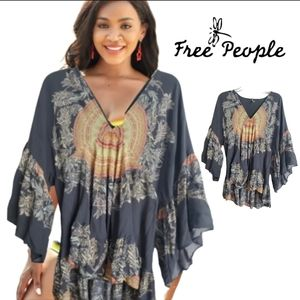 Free people gray high low bell sleeve babydoll top